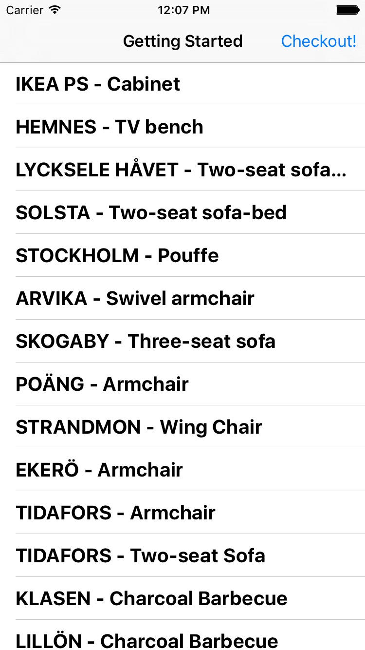 iOS inventory list