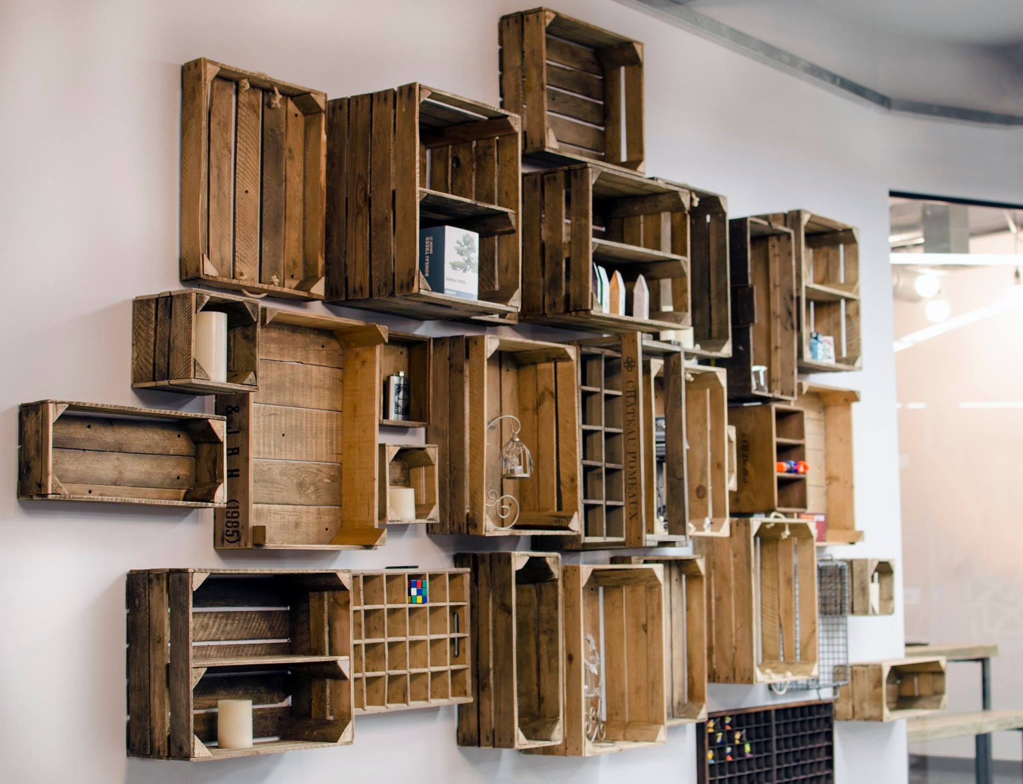 Shelves made from wooden crates